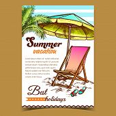 Summer Vacation Beach Advertise Banner Vector. Relax Deck Chair With Umbrella And Slippers Parasol A poster