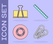 Set Paper Clip, Binder Clip, Scotch And Ruler Icon. Vector poster