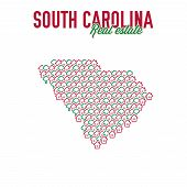 South Carolina Real Estate Properties Map. Text Design. South Carolina Us State Realty Creative Conc poster