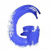 G - Blue handwritten letters over white background