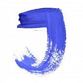 J - Blue handwritten letters over white background