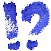 Marks - Blue handwritten letters over white background