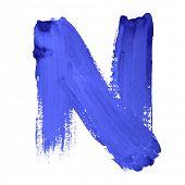 N - Blue handwritten letters over white background