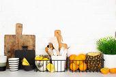 Kitchen Shelf Storage Organization Fruit Cutlery. Home Style Minimalism Zero Waste. Still Life With  poster
