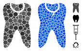 Caries Tooth Mosaic Of Round Dots In Various Sizes And Color Tinges, Based On Caries Tooth Icon. Vec poster