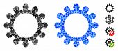 Gear Composition Of Small Circles In Variable Sizes And Color Tones, Based On Gear Icon. Vector Rand poster