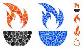 Fire Bowl Mosaic Of Round Dots In Different Sizes And Color Hues, Based On Fire Bowl Icon. Vector Ro poster