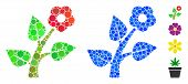 Flower Plant Mosaic Of Spheric Dots In Various Sizes And Color Tints, Based On Flower Plant Icon. Ve poster