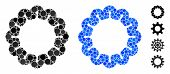 Gear Composition Of Round Dots In Different Sizes And Shades, Based On Gear Icon. Vector Round Dots  poster