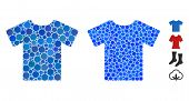 T-shirt Mosaic Of Round Dots In Different Sizes And Color Tints, Based On T-shirt Icon. Vector Round poster
