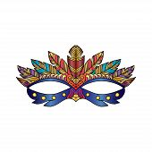 Carnival Mask And Confetti Of Different Colors For Festival Carnival Decorative. poster