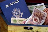 US passport and chinese currency in wood box