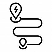 Electric Car Route Icon. Outline Electric Car Route Vector Icon For Web Design Isolated On White Bac poster
