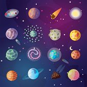Cute Vector Cartoon Collection Of Fantasy Planets, Moon, Satellites And Fantastic Space Objects On C poster