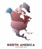 North-america Map. Actual Low Poly Style Continent Map. Radiant Vector Illustration. poster