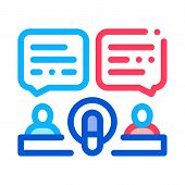 Hosts Talk In Microphone Icon Vector. Outline Hosts Talk In Microphone Sign. Isolated Contour Symbol poster
