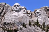 stock photo of mount rushmore national memorial  - Mount Rushmore National Memorial in South Dakota features sculptures of former U - JPG
