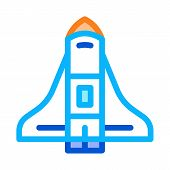 Space Shuttle Spaceship Icon Vector. Outline Space Shuttle Spaceship Sign. Isolated Contour Symbol I poster