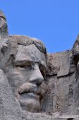 Closeup of former U.S. president Theodore Roosevelt at the Mount Rushmore National Memorial in South