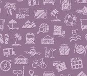 Travel, Vacation, Hiking, Leisure, Seamless Pattern, Pencil Shading, Purple, Color, Vector. Differen poster