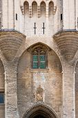 Majestic Gothic Entrance To Medieval Palace Of Popes In Historic Avignon, Provence, France poster