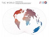 Abstract Geometric World Map. Rectangular (war Office) Polyconic Projection Of The World. Red Blue C poster