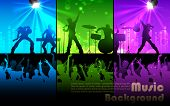 picture of guitarists  - illustration of people cheering rock band musical performance - JPG