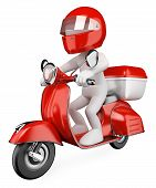stock photo of scooter  - 3d white courier delivering a package on a scooter - JPG