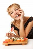 Young Woman With Sushi
