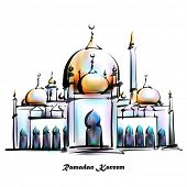 Vector Illustration of Mosque. Translation: Ramadan Kareen - May Generosity Bless You During The Hol