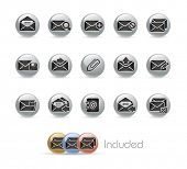 E-mail Icons // Metal Round Series --- It includes 4 color versions for each icon in different layer