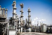 stock photo of refinery  - Chemical plant in the blue sky - JPG