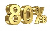 80% discount digits in gold metal, eighty percent off golden sign