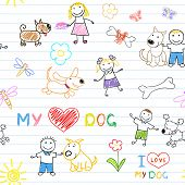 Children's and dogs. Seamless background