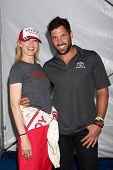 LOS ANGELES - APR 9:  Jenna Elfman, Maksim Chmerkovskiy at the Toyota ProCeleb Race Press Day 2013 a