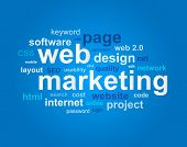 Web marketing in word cloud on blue background