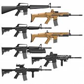 stock photo of assault-rifle  - Layered vector illutration of different American Carbines - JPG