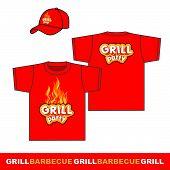 Grill party set t-shirt an cap design.