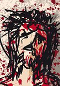 stock photo of insulting  - illustration of Jesus Christ crowned with thorns - JPG