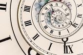 stock photo of roman numerals  - Swirl Effect on an Ornate Clock Face with Roman Numerals - JPG