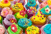 stock photo of cupcakes  - many sweet birthday cupcakes with flowers and butter cream - JPG