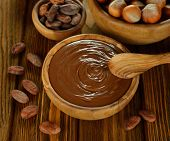 Chocolate, Cocoa Beans And Hazelnuts