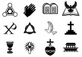 stock photo of trinity  - A set of Christianity icons and symbols including dove Chi Ro praying hands bible trinity christogram cross communion goblet ark and more - JPG