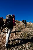 stock photo of mountain-climber  - Group of hikers climbing up the rocky mountain - JPG