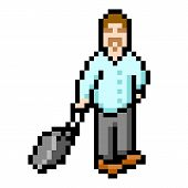 8-bit Pixel Businessman