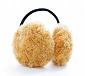 stock photo of muffs  - Brown Fuzzy Ear Muffs isolated over white - JPG