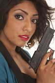 Hispanic Woman Close Gun Look