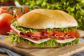 stock photo of baguette  - Homemade Italian Sub Sandwich with Salami Tomato and Lettuce - JPG