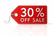 thirty percent off sale shopping tag