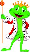 image of prince charming  - Vector illustration of Cute king frog cartoon with royal stick - JPG